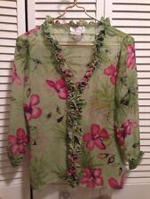 fb1f14c67e6dd1 Tess Woman s Ruffle Front   Collar Green   Pink Top 3 4 Sleeve Silk Size