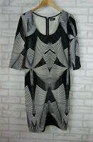 DOTTI Dress Sz 14 Black, White print Exposed zip