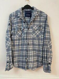Superdry White Blue Shirt Size Large Mens Long Sleeve (O511)