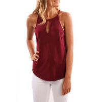 Mujer Chiffon Camiseta sin mangas Camisa Verano Holgado de tirantes blusa