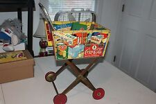 Rare Nice 1950's Child's Coca Cola and other Foods Adverising Shopping Cart