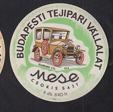 Ancienne  étiquette Fromage Hongrie  BN10903 Anciennes voitures Standard Cyl