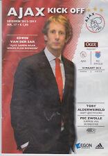 Programma / Programme Ajax Amsterdam v PEC Zwolle 10-03-2013
