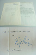 Dirigent Fritz RIEGER (1910-1978), Münchner Philharmoniker: Brief 1962 an KOPSCH