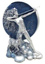 Diana Moon Goddess Shooting Arrow Silver Finish with Blue Moon Statue Figurine