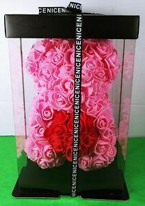 "9"" Pink Rose wiith Red Heart TEDDY BEAR Graduation Birthday wirh Display Case"