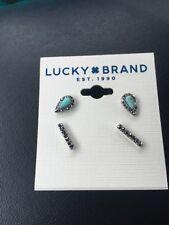 Lucky Brand Women's Turquoise Silver Bar Stud Earring Set F129