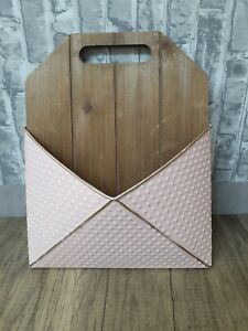 Pink n Wood Metal Mail Wall Hanging Organizer Holder Bills Letter Shabby Chic