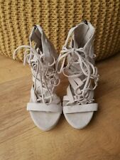 MISSGUIDED PLATFORM SHOES Beige Faux Suede Strappy Sandals UK 3 / 36 - NEW