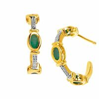 3/4 ct Natural Emerald Half Hoop Earrings in 18K Gold-Plated Sterling Silver