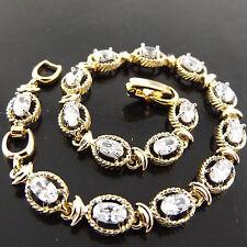 BRACELET BANGLE REAL 18K YELLOW G/F GOLD DIAMOND SIMULATED ANTIQUE TENNIS DESIGN