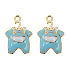 15pcs Blue&Gold Enamel Alloy Baby Clothes Shaped Charms Pendants Crafts 53400