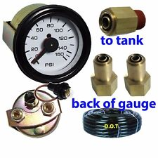 Dual Air Suspension Gauge Air Ride Bagged White Face with fittings