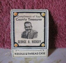 Vintage George A. Hickoff County Treasurer 1940 Needle & Thread Case