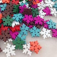 50 pcs Christmas snowflake Wood Buttons 18 mm Sewing Craft Mix Lots WB196