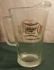 Vintage Miller High Life The Champagne Of Beer Pitcher Glass Rare Gold Lettering