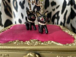 Betsey Johnson Vintage Rose Garden Black Glitter Cat Pearl Necklace Earrings