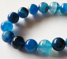 50pcs 8mm Round Natural Gemstone Beads - Blue Agate