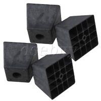 4x Trapezoid Black Plastic Furniture Legs for Sofa 80 x 98 x 65mm