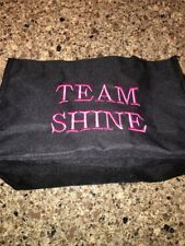 "Thirty One Small Utility Tote ""Team Shine"" Pink Letters Black"