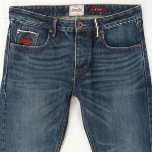 Mens SuperDry SLIM Slim Straight Blue Selvage Jeans W31 W32 L32