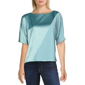 Alfani Women's Knit Top Blue Size Large L Mixed Media Colorblocked $69 #292