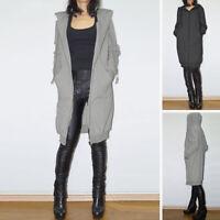 Mode Femme Manteau à capuche Couleur Unie Hoodies Loose Manche Longue Veste Plus