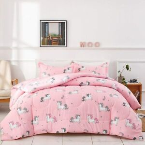 Uozzi Bedding Bed in a Bag 7 Pieces King Size Unicorn Pink with Rainbow Star - S