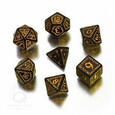 Q-Workshop Runic RPG Dice Set (7 Polyhedral) Black & Yellow SRUN07