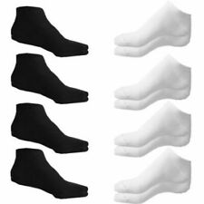 Sport Trainer  Ankle Socks Mens And Womens, Black White 3 6 12 Pairs All Sizes