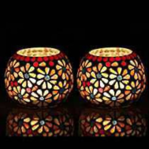 Enjoy fest with The Purple Tree Moroccan Mosaic Glass Tea Light Candle Holder