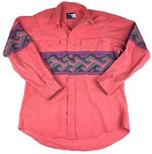 Wrangler Mens Western Cowboy Shirt Sz 16.5 34 Southwest design XL Tails