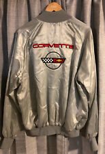 Mens Vintage Westark CORVETTE Embroidered Gray Silver Satin Jacket ~ XL