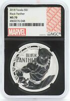 2018 Black Panther 1 oz Silver NGC MS70 Coin Marvel $1 Tuvalu ounce - JJ307