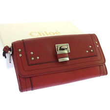 Chloe Wallet Purse Long Wallet Logo Red Silver Woman Authentic Used Y880