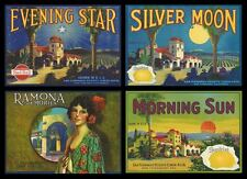 "(4) LOT VINTAGE ORIGINAL 1930 ""CALIFORNIA MISSION"" LEMON LABEL ART SAN FERNANDO"