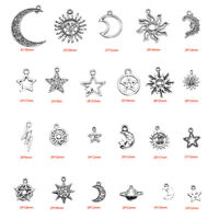 23Pcs Assorted Star Moon Sun Planet Charm Tibet Silver Jewelry Pendant Beads