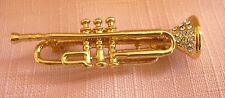 Pin / Brooch Gold Plated & Diamante Trumpet