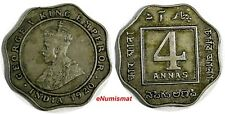 India-British George V Copper-Nickel 1920 4 Annas Bombay Mint Nice KM# 519/326