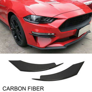 2xCarbon Front Splitter Flaps Spoiler Fins Canards Lippe für Ford Mustang 18-19