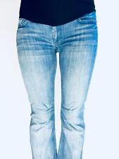 7 For All Mankind Dojo Flare Leg Blue Maternity Jeans Full Belly Panel 27x28