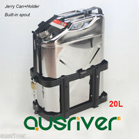 20L Stainless Steel Jerry Can+Holder for 4WD/Car/Motorcycle Fuel Built-in Spout
