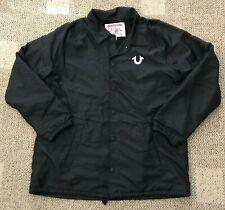 True Religion Mens Snap Front Long Sleeve Jacket Black Size XXXL 3XL MOVH201FDD