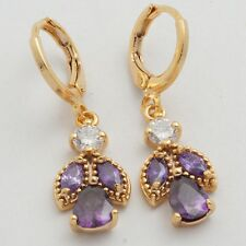 Purple Marquise Teardrop Cubic Zircon Gold Plated Lady Jewlery Drop Earrings