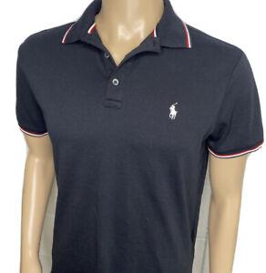 Polo Ralph Lauren Shirt Custom Slim Fit Black Short Sleeve Contrast Collar Men M