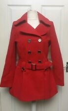 Be Beau Red Double Breasted Peplum Coat With Belt Size 12 - BNWT