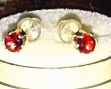 New Natural, hot Red Garnets, ear Jewelry Gem Earrings 4 mm 6 Prongs Fine Silver