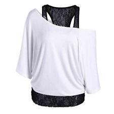 Women Lace Loose Long Sleeve Tops Bat-like Blouse Off-shoulder Shirt Plus Size
