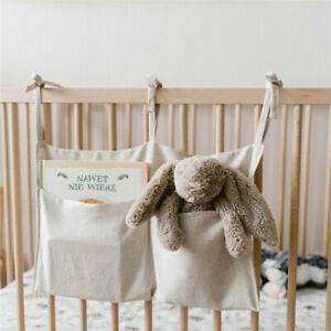 Linen Baby Crib Hanging Storage Bag Baby Cot Bed Organizer Toy Diaper Pocket