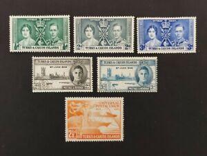 Turks & Caicos Is.1937+, 1xUPU, set of 2x Victory, set of 3x Coronation mh & vfu